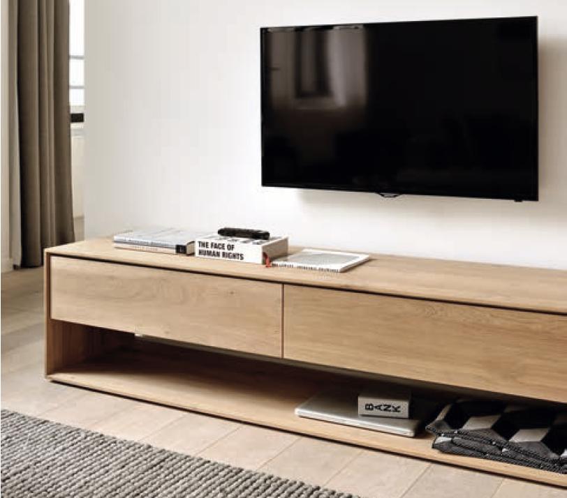 meuble TV chene clair massif blanc Ethnicraft