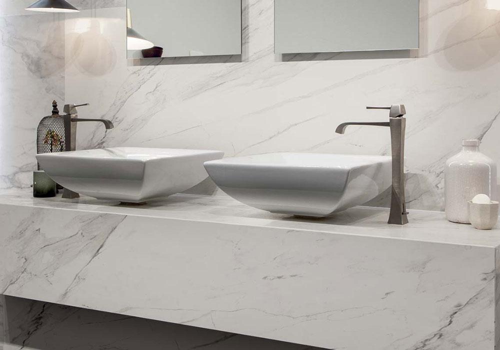 carrelage salle de bain casa dolce casa série Stone and more imitation marbre poli brillant - Kei Stone Aix en Provence